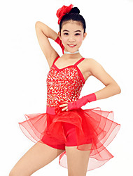 MiDee Dresses Performance Spandex / Organza /  Paillettes / Flower(s) / Ruffles / Sequins 6 Pieces Ballet Sleeveless Natural