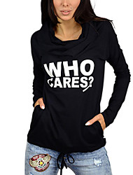 Women's Casual/Daily Simple Fall T-shirt,Solid Boat Neck Long Sleeve Blue / White Cotton Opaque