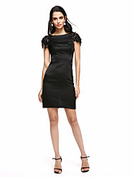 cheap -Sheath / Column Boat Neck / Bateau Neck Short / Mini Stretch Satin Little Black Dress Cocktail Party Dress with Beading / Appliques by TS Couture®