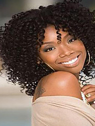 cheap -Synthetic Wig Kinky Curly African American Wig Brown Women's Capless Natural Wigs Medium Synthetic Hair