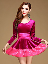 cheap -Latin Dance Dresses Performance Velvet Ruffles 1 Piece Long Sleeve Natural Dress