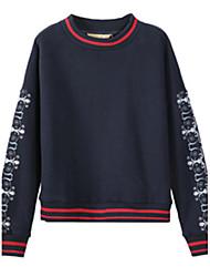 preiswerte -Damen Pullover Lässig/Alltäglich Druck Rundhalsausschnitt Mikro-elastisch Polyester Langarm Herbst