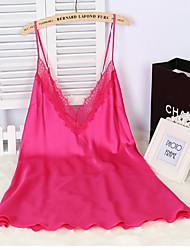 povoljno -Žene Ultra seksi Noćno rublje Jednobojni - Tanko Viskoza Crn Sive boje Fuksija Pink Navy Plava