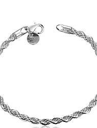 cheap -Bangle Bracelets Womens Silver Plated Copper Link Chain Bracelet Jewelry Bridesmaid Gift Christmas Gifts