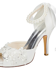Women's Heels Spring / Summer Platform Stretch Satin Wedding / Party & Evening / Dress Stiletto Heel Crystal / Pearl Ivory / White