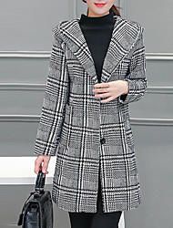 cheap -Women's Work Basic Coat-Plaid