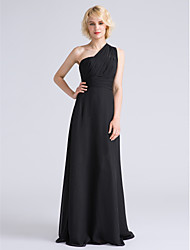 cheap -Sheath / Column One Shoulder Floor Length Chiffon Bridesmaid Dress with Side Draping / Ruched by LAN TING BRIDE®