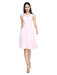 cheap -A-Line Jewel Neck Knee Length Chiffon Lace Bodice Bridesmaid Dress with Bow(s) Sash / Ribbon by LAN TING BRIDE®