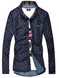 cheap -Brand Fashion Hot Sale  Men's Daily Casual Spring / Fall ShirtSolid / Print Shirt Collar Long Sleeve Blue / White