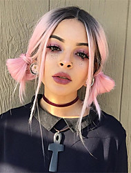 Fashion Natural Ombre Color Black to Pink/Green Synthetic Wigs for European and American Ladies It Girl Wearing