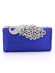cheap -Women's Bags Poly urethane / Satin / Metal Evening Bag Crystal / Rhinestone / Acrylic Jewels Red / Golden / Royal Blue