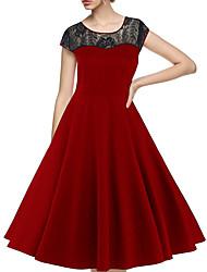 Gaine Robe Femme Décontracté / Quotidien Vintage,Couleur Pleine Col Arrondi Mi-long Manches Courtes Rouge Noir Coton Polyester EtéTaille