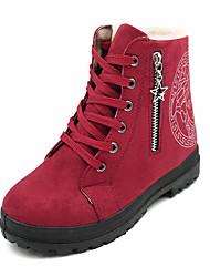 Women's Boots Winter Comfort PU Dress / Casual Flat Heel Zipper / Lace-up Black / Brown / Burgundy Walking