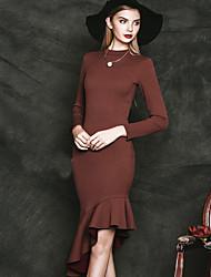 Damen Trompete/Meerjungfrau Kleid-Ausgehen Einfach Solide Rundhalsausschnitt Knielang Langarm Rot / Schwarz Baumwolle / PolyesterFrühling
