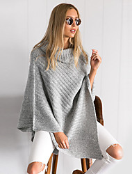 Women's Casual/Daily Simple / Street chic Long Loose Cloak PulloverSolid Batwing Sleeve Turtleneck Long Sleeve