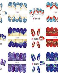 billige -12 Neglekunst Klistermærke Vandoverførende decals 3D Negle Stickere Makeup Kosmetik Neglekunst Design