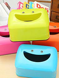 créatif souriant boîte de tissu facial boîte de tissu bande dessinée table sourire (couleurs aléatoires)