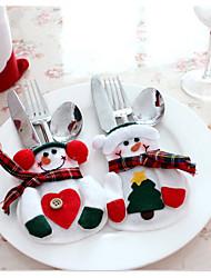 2pcs xmas decoração de festa de bolso titular cozinha lindo boneco de utensílios de mesa de jantar talheres saco