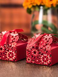 Porte-cartes en papier cubique avec des rubans favorisent les boîtes-12 faveurs de mariage