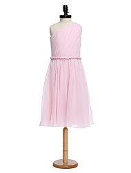 A-Line One Shoulder Knee Length Chiffon Junior Bridesmaid Dress with Sash / Ribbon Side Draping by LAN TING BRIDE®