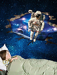 3D Creative Outer Space Spaceman 3D Wall Stickers Fashion Removable Living Room Bedroom Wall Decals