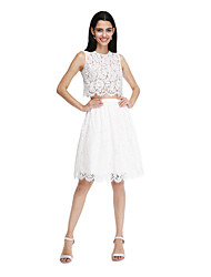 cheap -A-Line Jewel Neck Knee Length Lace Bridesmaid Dress with Sash / Ribbon by LAN TING BRIDE®