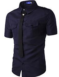 Herren Solide Einfach Lässig/Alltäglich Hemd,Hemdkragen Sommer Kurzarm Blau / Weiß / Schwarz / Grün Baumwolle Mittel