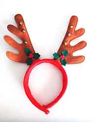 2PCS The Christmas Bell Leaves Brown Cloth Antlers Antlers Head Hoop Buckle Cartoon Animal Model
