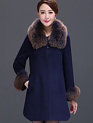 cheap -Women's Vintage Sophisticated Coat Fur Trim Shirt Collar