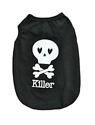 cheap -Cat Dog Shirt / T-Shirt Dog Clothes Skull Black Cotton Costume For Pets Men's Women's Cute Casual/Daily Halloween