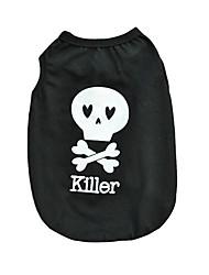 preiswerte -Katze Hund T-shirt Hundekleidung Niedlich Lässig/Alltäglich Halloween Totenkopf Motiv Schwarz Kostüm Für Haustiere