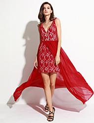 Femme Dentelle/Dos Nu Gaine Robe Aux s Soirée Sexy/Vintage,Couleur Pleine V Profond Maxi Sans Manches Rouge/Blanc Polyester Eté
