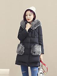 baratos -Mulheres Casual Simples Pêlo de Raposa Longo Penas de Pato Branco Duvet Sólido / Inverno