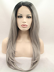 Sylvia Synthetic Lace front Wig Black Roots Grey Hair Ombre Hair Heat Resistant Long Straight Synthetic Wigs