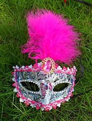 1pc laço máscara de penas para o dia das bruxas traje do partido cor aleatória