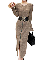 Women's Plus Size Simple / Sophisticated Spring / Winter Set Skirt Suits,Solid Round Neck Long Sleeve Brown / Gray Cotton Medium