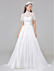 cheap -Ball Gown Illusion Neckline Court Train Lace Taffeta Custom Wedding Dresses with Sash / Ribbon Ruched by LAN TING BRIDE®