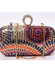 Women Bags All Seasons Satin Plastic Evening Bag Beading Sequin for Wedding Event/Party Formal Fuchsia Blue Golden