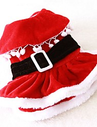 Cat Dog Costume Dress Dog Clothes Winter Spring/Fall Solid Cute Cosplay Christmas Red