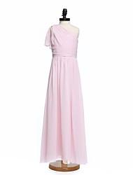 A-Line One Shoulder Floor Length Chiffon Junior Bridesmaid Dress with Sash / Ribbon Side Draping Criss Cross Ruching by LAN TING BRIDE®