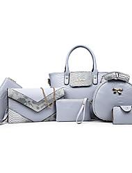 Donna Sacchetti Per tutte le stagioni PU (Poliuretano) sacchetto regola Set di borsa da 6 pezzi per Casual Formale Bianco Nero Rosa