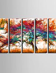 Недорогие -Пейзаж / ботанический Холст для печати 5 панелей Готовы повесить , Вертикальная