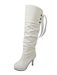 cheap -Women's Boots Winter Platform PU Office & Career Dress Casual Stiletto Heel Platform Lace-up White Black Walking