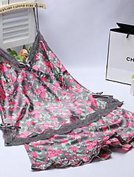 povoljno -Žene Ultra seksi Noćno rublje Jednobojni-Tanko Viskoza Crn Sive boje
