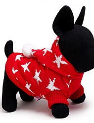 cheap -Cat Dog Sweater Hoodie Dog Clothes Cute Keep Warm Christmas Stars Red Blue Costume For Pets
