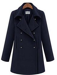 Women's Casual/Daily Simple Coat,Solid Long Sleeve Winter Blue Wool Medium