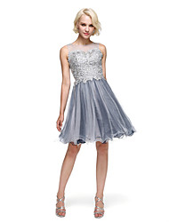cheap -Ball Gown Bateau Neck Knee Length Lace Tulle Cocktail Party Homecoming Prom Dress with Beading by TS Couture®