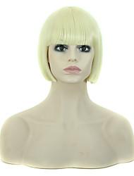 Ženy Bleach Blonde Rovné Střih Bob S ofinou Umělé vlasy Bez krytky Přírodní paruka Paruka Halloween Karnevalová paruka paruky