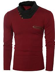 Masculino Camiseta Casual Vintage Primavera Outono,Estampa Colorida Misto de Algodão Gola Alta Manga Longa Média