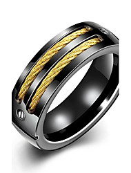 Ring Non Stone Wedding / Party / Daily / Casual Jewelry Stainless Steel / Gold Plated Men Ring 1pc,7 / 8 / 9 / 10 Yellow Gold Christmas Gifts